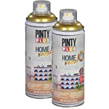 Pintyplus Home Spray Paint - Brass - 11.2 oz Aerosol - 2 Pack, Solvent Based, Ideal for Indoor Household...