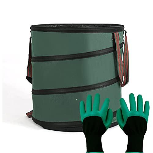 1 förpackning 24 gallon gräsmatta trädgårdspåsar Återanvändbar gårdsavfallspåsar med bestrukna trädgårdshandskar förvaringspåse uteplats tvättbehållare soptunna med 4 handtag,Green