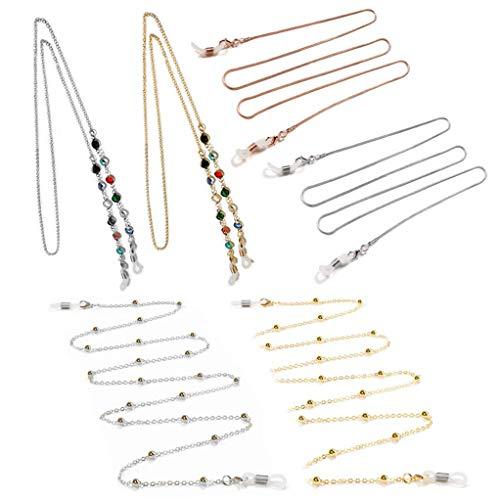 6 Piezas Cadena de Gafas con Cuentas, Collar para Mascarilla, Collares Retenedor de Gafas Para Mujeres y Hombres,Cordón para Cuello