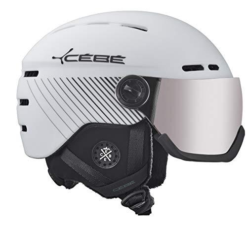 Cébé Fireball Skihelm voor volwassenen, uniseks, mat wit zwart line, 56-58 cm
