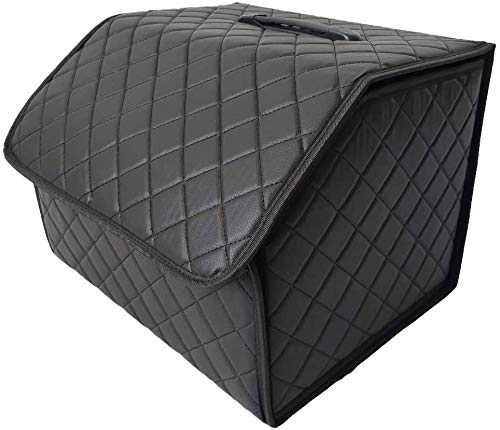 seiyishi 車用 バッグ ボックス トランク ケース Mサイズ 折りたたみ式 レザー ラゲッジボックス 車載 車内 道具 工具 小物 整理 収納 携帯 アウトドア キャンプ 収納ケース 便利グッズ SY-CZSNJ-016 (Mサイズ)