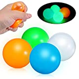 CHARMINER Glow in The Dark Ceiling Balls, 4 Pack Glow Sticky Balls Soft Stress Toys for Stretch Stress Relief Toys for Kids and Adults Anxiety, Glow Sticky Balls, Sensory Toys