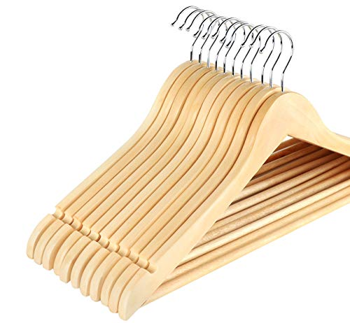 ilauke Pack of 32 Maple Wooden Coat Hangers Clothes Hangers With Trouser...