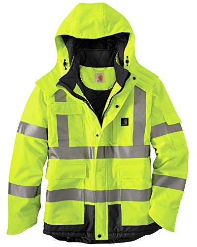 Carhartt Men's High Vis Waterproof Class 3 Insulated Sherwood Jacket,Brite Lime,Large