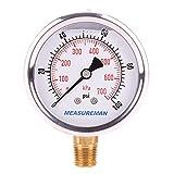 Measureman 2-1/2' Dial Size, Glycerin Filled Pressure Gauge, 0-100psi/kpa, 304 Stainless Steel Case, 1/4'NPT Lower Mount