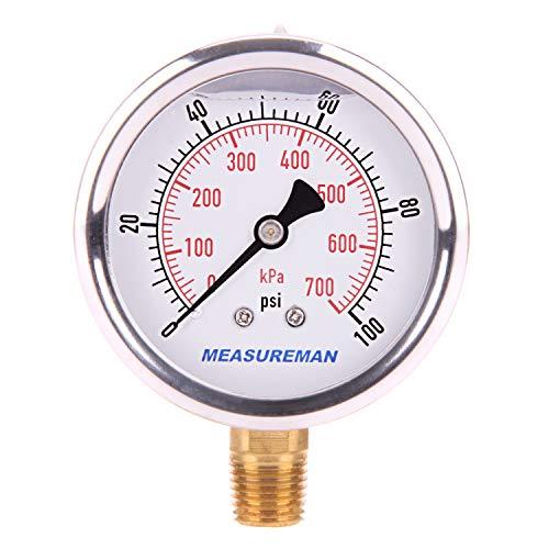 "Measureman 2-1/2"" Dial Size, Glycerin Filled Pressure Gauge, 0-100psi/kpa, 304 Stainless Steel Case, 1/4""NPT Lower Mount"