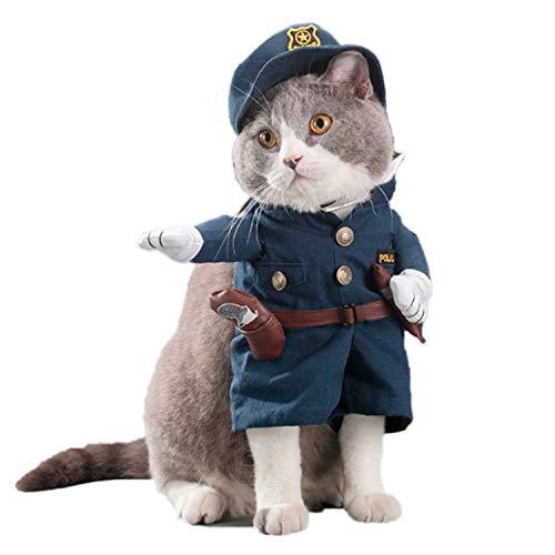 PTN Disfraz de Policía para Mascotas, Bonita Ropa para Mascotas, Divertido Disfraz de Cosplay, Genial Atuendo de Policía con Sombrero de Gato y Perro (Menos de 15 kg)
