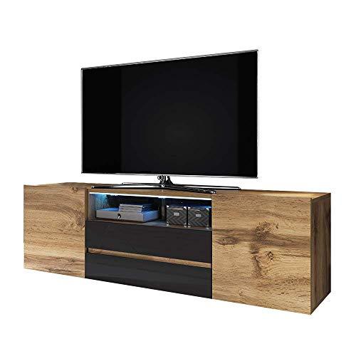 Selsey Bros - Meuble TV/Banc TV (140 cm, chêne wotan/Noir Brillant, avec LED)