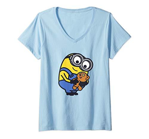 Mujer Despicable Me Minions Favorite Teddy Bear Portrait Camiseta Cuello V