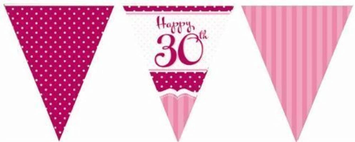 Perfectly Pink Party Happy 30th Birthday Paper Flag Bunting - 12ft by Perfectly Pink