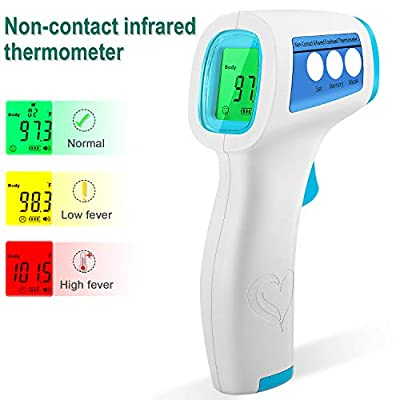Forehead Thermometer Non-Contact Infrared Thermometer for Baby Kids and Adults Instant Accurate Reading Digital Thermometer for Fever - C/F Adjustable with Fever Alert & Data Memory
