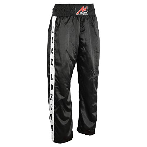 Playwell Full Contact Noir Compétition Kickboxing Pantalon avec Patchs - Noir, 3/160cm