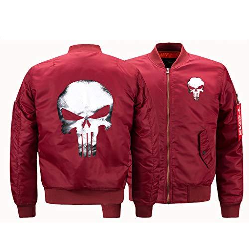 LIXIYU Bomberjacke Unisex Stehkragen Jacken Mantel lässige Fliegerjacke Klassische Skull Couple Jacke,Red-M