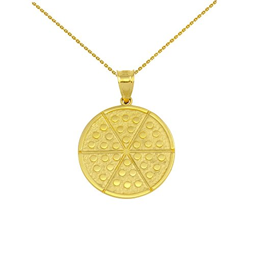 14 ct Yellow Gold Six Slice Pizza Circle Pendant Necklace (Comes with an 18' Chain)