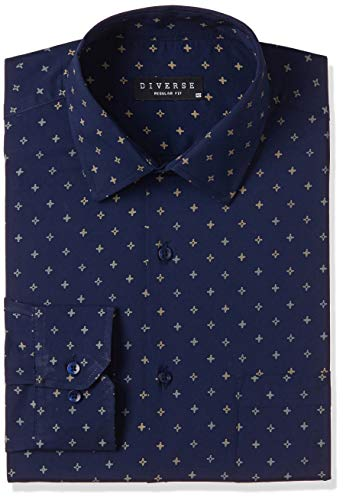 Diverse Men's Printed Regular Fit Full Sleeve Cotton Formal Shirt (DVF01F2L01-263-40_Navy_40)