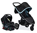Britax B-Free Travel System with B-Safe Ultra Infant Car Seat | All Terrain Tires + Adjustable Handlebar + Extra Storage with Front Access + One Hand, Easy Fold - Frost