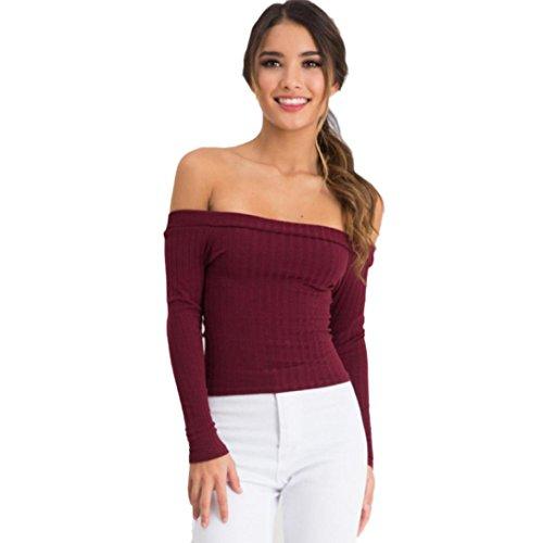 Kolylong® Sweatshirt Damen Frau Schlank Tops Schulterfrei Sweatshirt (S, Rote)