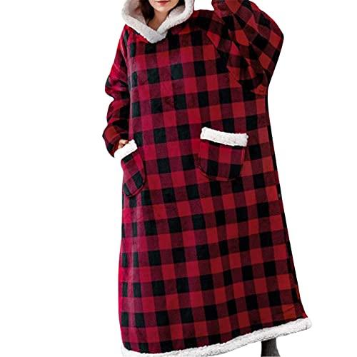 Sudadera con capucha de gran tamaño, manta de gran tamaño, manta con capucha, súper suave, con bolsillo frontal, para hombres, mujeres, adolescentes y amigos, Negro Rojo, talla única