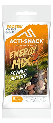 ACTI-SNACK Peanut Butter Energy Trail Mix. Sports Nutrition Snacks. Dark Chocolate Peanut Butter Peanuts, Roasted Almonds, Sour Cherries. High in Plant Protein. Vegan. 12 x 40g