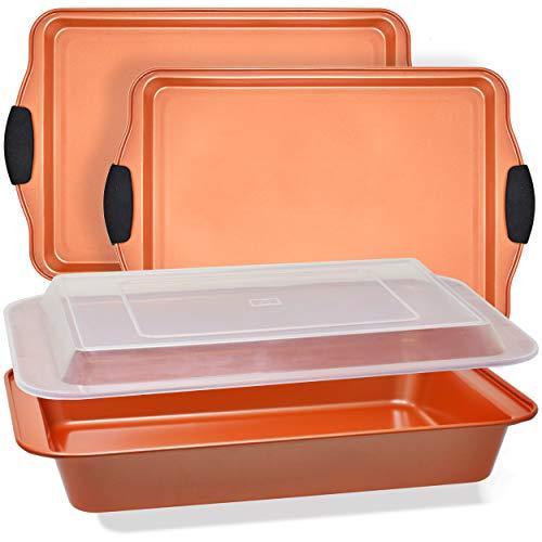 PERLLI Copper Bakeware Set 4 Pc Bake Pans Set Pfoa And Ptfe...