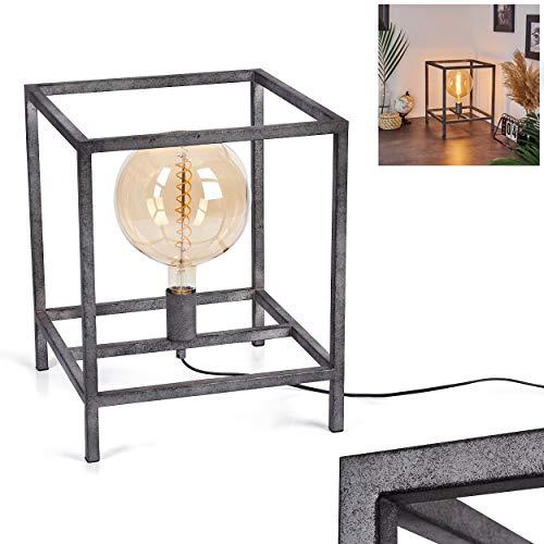 Takoi - Lámpara de mesa cuadrada de metal en plata envejecida, 1 lámpara de mesa en aspecto industrial/vintage, 1 bombilla E27 máx. 40 W, apta para bombillas LED
