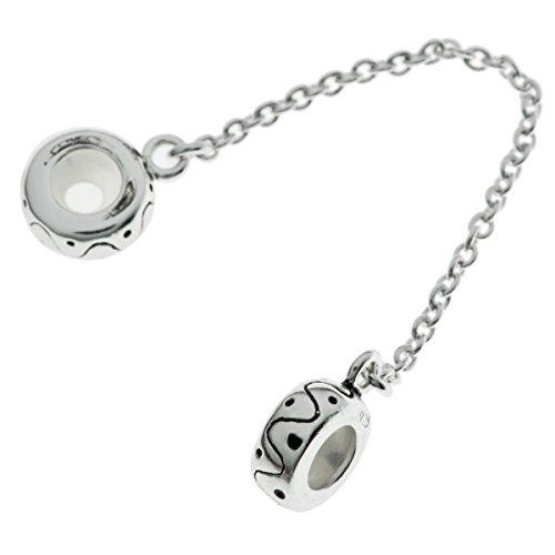 Cadena de seguridad de plata de Ley 925para pulsera de colgantes tipo europeo, diseño de punto y ondas