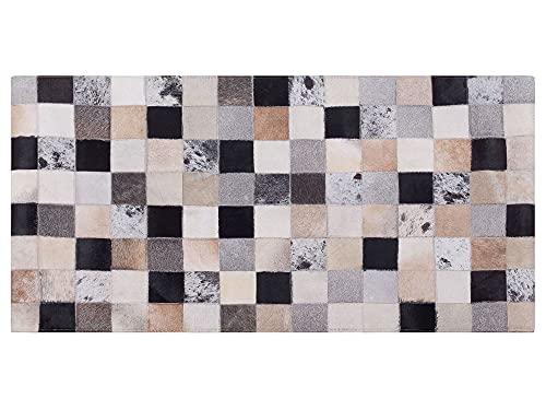 Beliani Patchwork Teppich braun/beige Kuhfell 80 x 150 cm Kurzflor handgefertigt Rize