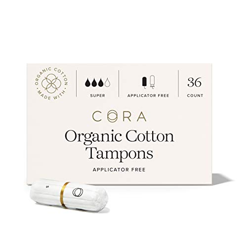Cora Organic Cotton Non-Applicator Tampons; Chlorine & Toxin Free - Super (36 Count)