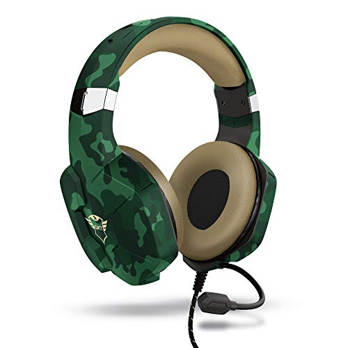 Trust Gaming Trust Cascos Gaming para PC, Playstation & Xbox GXT 323C Carus - Auriculares Gamer con Micrófono Flexible, para PC, PS4, PS5, Xbox Series X (S) - Verde Camuflaje
