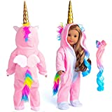 Sweet Dolly Doll Clothes Unicorn Costume Onesie Pajamas Rainbow Color Hair Bow Clips Fits 18 Inch American Girl Doll