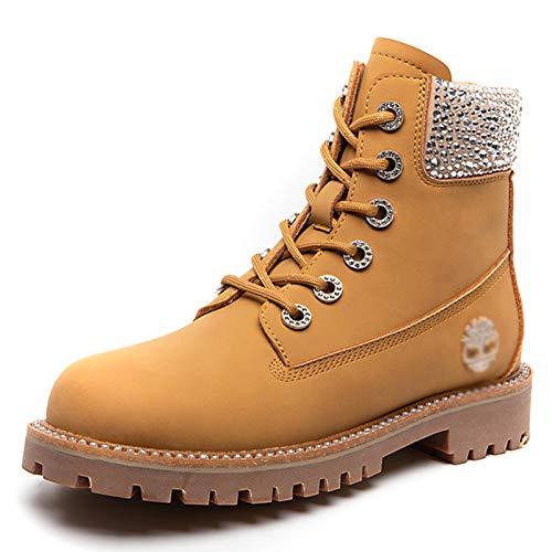 Botas De Martin para Mujer Otoño E Invierno Respiración De Choque Botas Cortas Botas De Encaje Frontal Botas Casuales,Amarillo,38