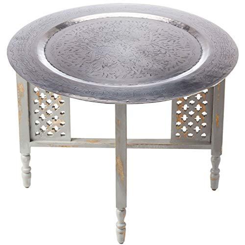 Marokkanischer Runder Tisch Couchtisch Hania ø 60cm rund | Orientalischer Wohnzimmertisch mit klappbaren Vintage Gestell aus Holz in Grau | Das Tablett Dieser Klapptisch ist aus Metall in Silber
