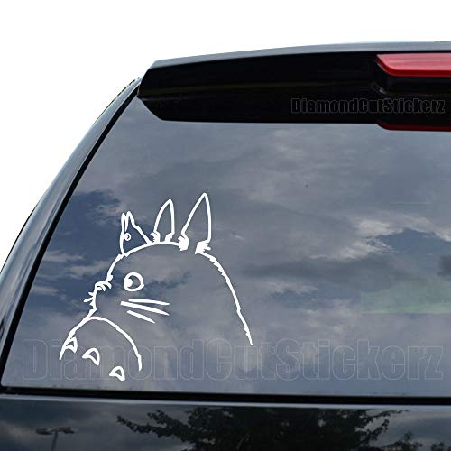 Totoro My Neighbor Anime Decal Sticker Car Truck Motorcycle Window Ipad Laptop Wall Decor - Size (07 inch / 18 cm Wide) - Color (Matte White)