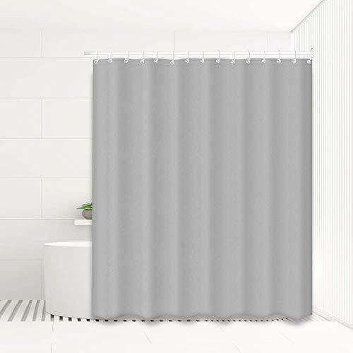 Duschvorhang Anti-Schimmel, Textil Bad Vorhang aus Polyester fürs Badezimmer, Waschbar, Wasserabweisend, mit Ringen zur Befestigung an der Duschstange,