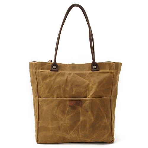 Peacechaos Women's Canvas Waterproof Shoulder Hand Bag Tote Bag Purse Handbag (Khaki)