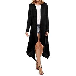 WDIRARA Women's Ruffle Flounce Bell 3/4 Sleeve Knee Length Long Cardigan Duster Coats
