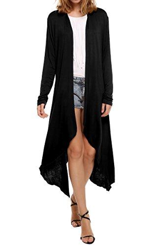 Meaneor Black Long Cardigan for Women, Lightweight Long Sleeve Asymmetric Open Front Drape Cardigan Sweaters