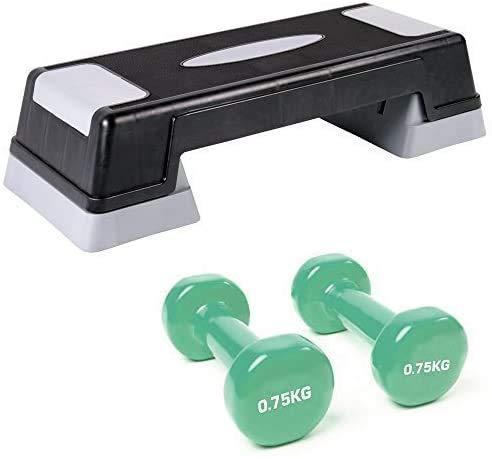 paso aeróbico TNP accesorios altura ajustable paso pasos ejercicio Cardio Gym Yoga Pilates en casa + (0,75 kg) 2 x mancuernas vinilo juego