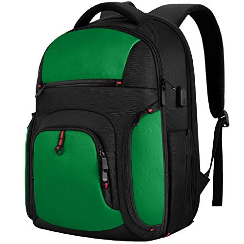 Mochila de viaje para ordenador portátil de 15.6 pulgadas, elegante mochila universitaria con puerto de carga USB, mochila resistente al agua TSA bolsa para portátil para hombres/mujeres-verde