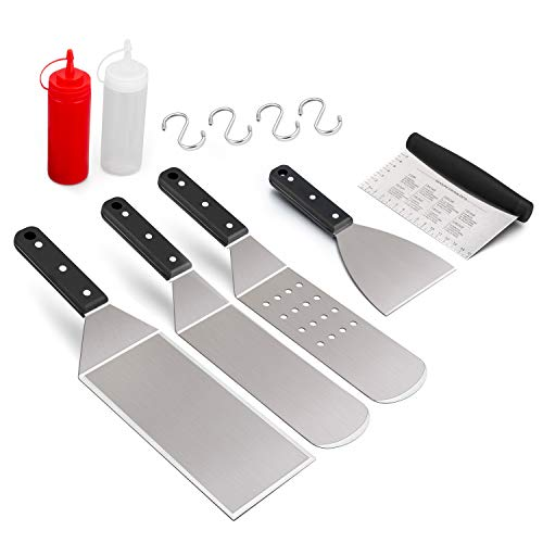 Leonyo Griddle Accessories Set of 7, Stainless Steel Griddle Metal Spatula Scraper Turner for Flat Top Grill Pan BBQ, Riveted Handle, Dishwasher Safe, 4 x S Hooks