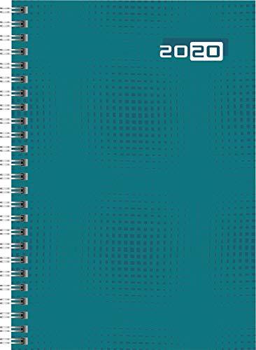 rido/idé 702100704 Buchkalender futura 2 (2 Seiten = 1 Woche, 148 x 208 mm, Grafik-Einband petrol, Kalendarium 2020, Wire-O-Bindung)