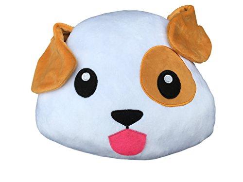 Desire Deluxe Cojín Emoticono Cachorro Sonriente - Almohada o Peluche Emojis Cariñoso en Forma de Emoticon Cachorro 100% de Satisfacción o Devolución del Dinero.