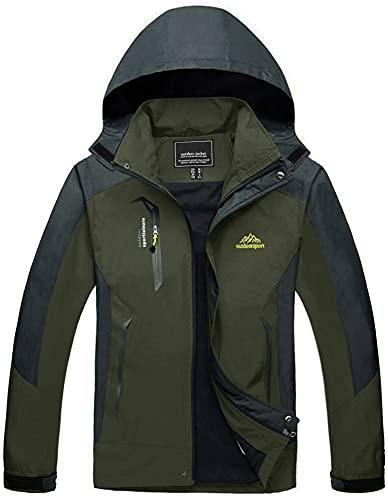TACVASEN Herren Leichte Wasserdichte Softshell Jacke mit Abnehmbarer Kapuze, Armeegrün, DE M