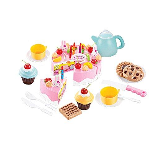 54 pièces de coupe de gâteau Pretend Play Set alimentaire pour les enfants,Rose