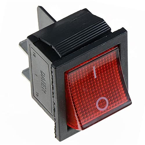 YSJJNDH Basculante Interruptor 1 UNIDS KCD4 Interruptor de encerramiento del Interruptor de Tornillo Rocker I/O 4 Pins / 6 Pines con LUZ 16A 250VAC 20A 125VAC (Color : Red, Size : 4 Pins)