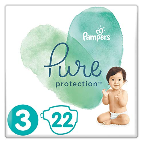 Pampers Pure Protection Windeln, Gr. 3, 6kg-10kg, Tragepack (1 x 22 Windeln)
