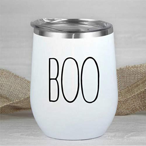 Boo Halloween-Weinglas mit Deckel, doppelwandig, vakuumisoliert, ohne Stiel, 340 ml, Rae-Dunn Edelstahl-Reisebecher für Champagner, Cocktails