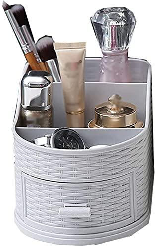 Guuisad Simple Plástico Oficina Escritorio Cajas de Almacenamiento Maquillaje Maquillaje Cosmético Joyería Divisor Organizador Bins Home Tableto Organización Regalo para niñas (Gris) (Color : Gray)