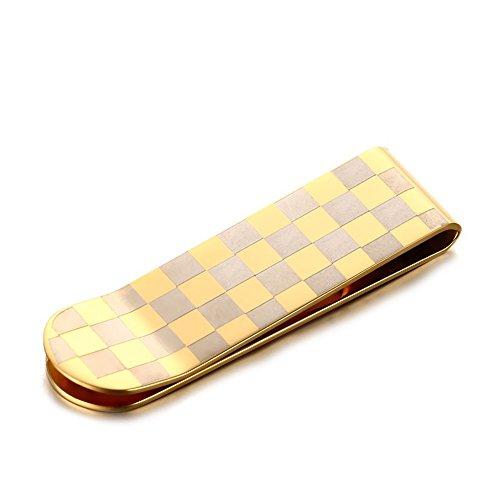 EKLOEN Stainless Steel Slim Money Clip Credit Card Holder Slim Wallet for Men and Women(Golden Pattern)