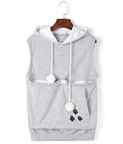 Unisex Cat Ear Big Kangaroo Pocket Sleeveless Hoodie Pet Holder Vest Sweatshirt